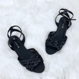Coach Summers Woven Ankle Strap Leather Sandals